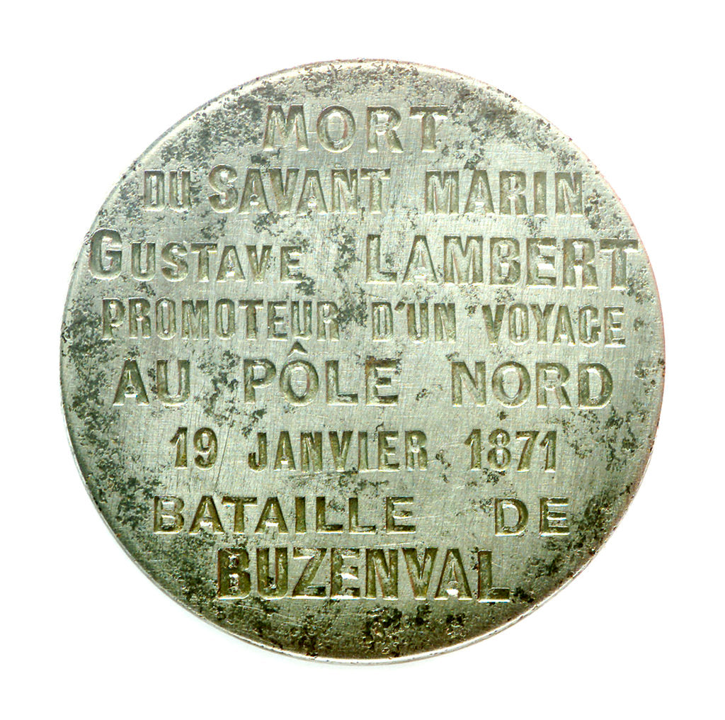Detail of Medal die commemorating the siege of Paris, 1870-1871 and G Lambert, the explorer; obverse by unknown