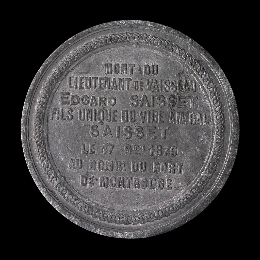 Detail of Medal commemorating the siege of Paris, 1870-1871 and death of Lieutenant Edgard Saisset; reverse by unknown