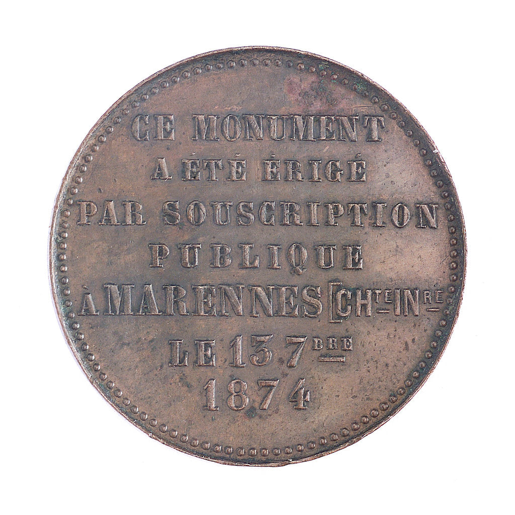 Detail of Medal commemorating  Admiral Justin-Napoleon Chasseloup-Laubat (1805-1873); reverse by A. Desaide