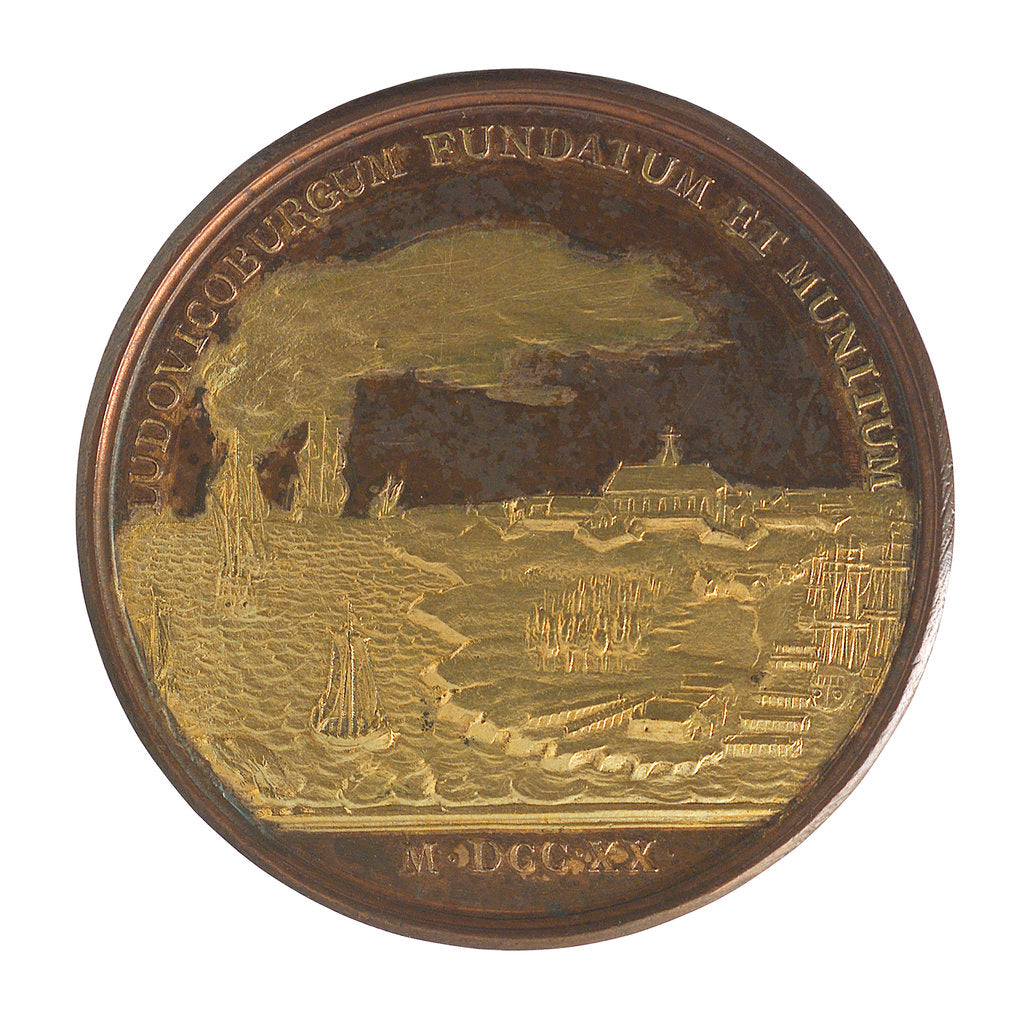 Detail of Medal commemorating Louisburg founded and fortified, 1720; reverse by J. Duvivier