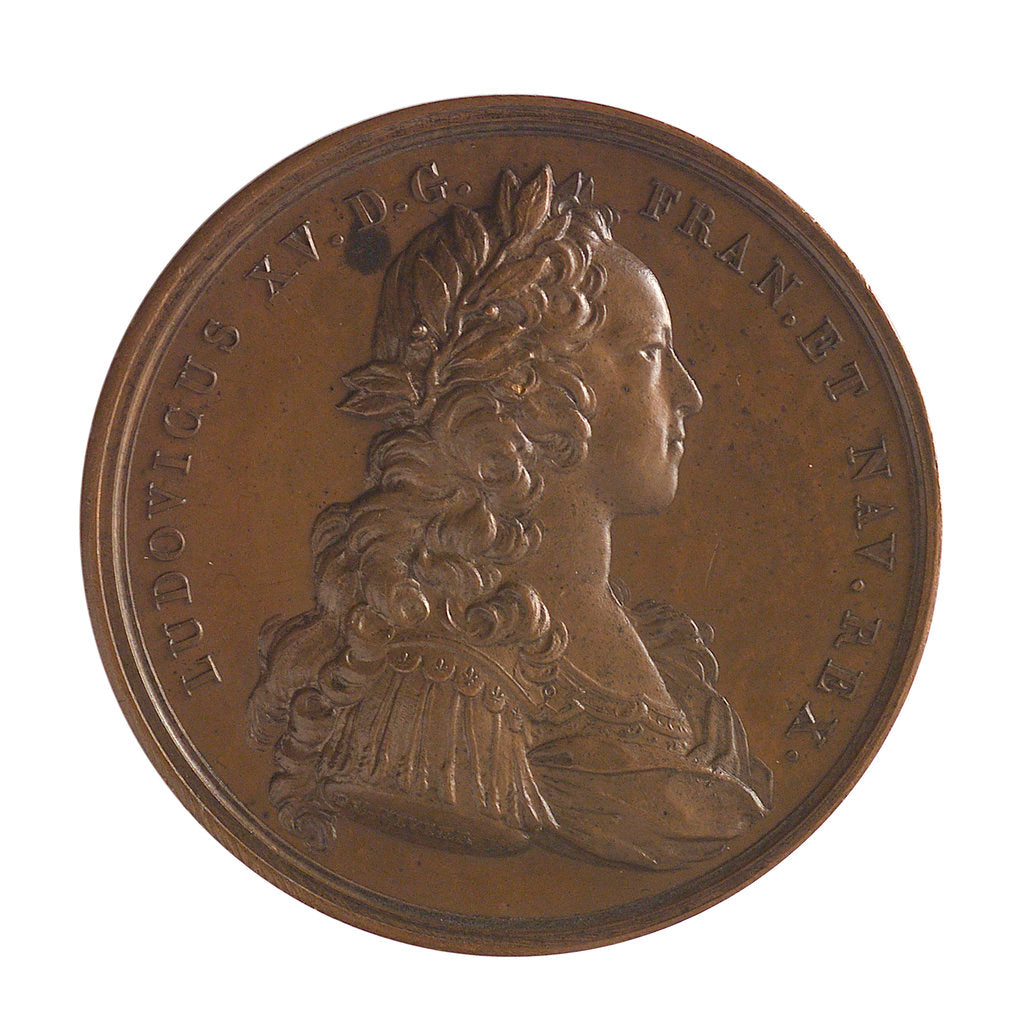 Detail of Medal commemorating the defence of Guadeloupe, 1721; obverse by J. Duvivier