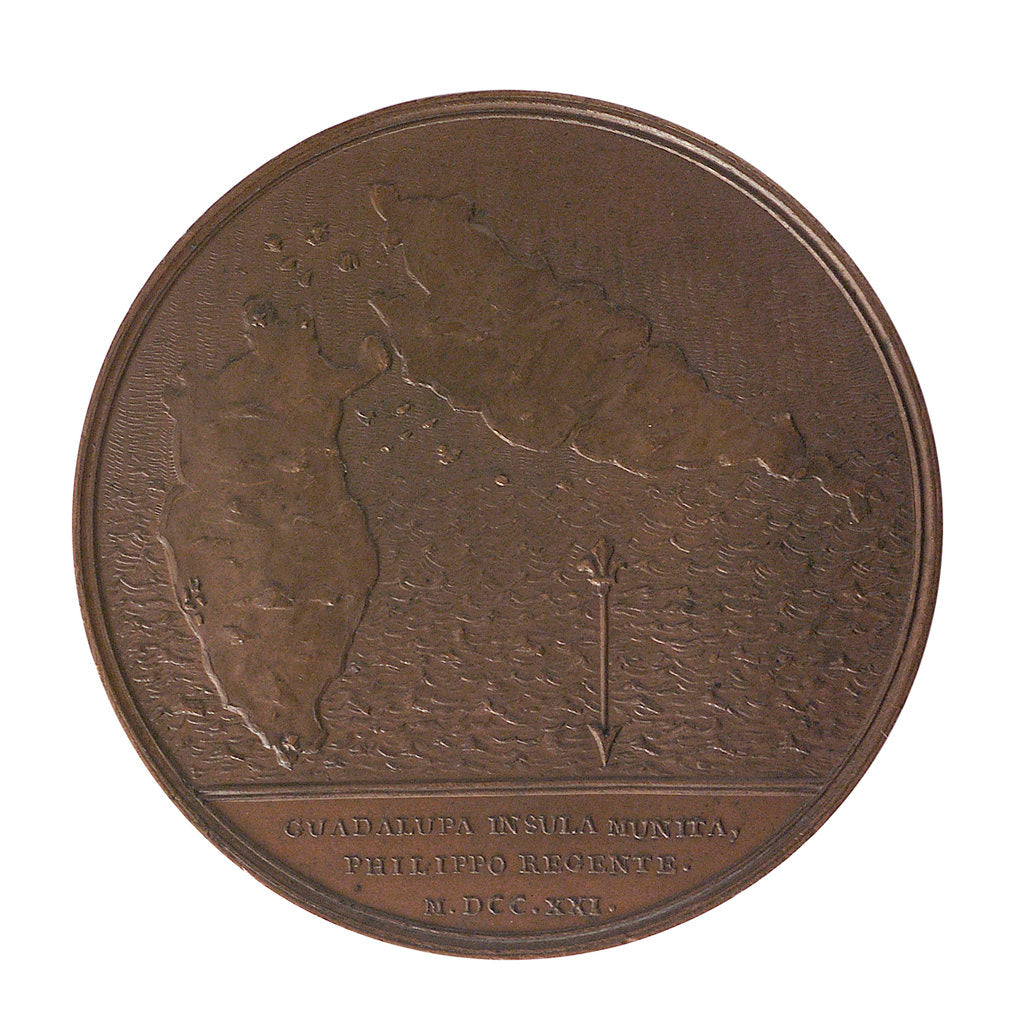 Detail of Medal commemorating the defence of Guadeloupe, 1721; reverse by J. Duvivier