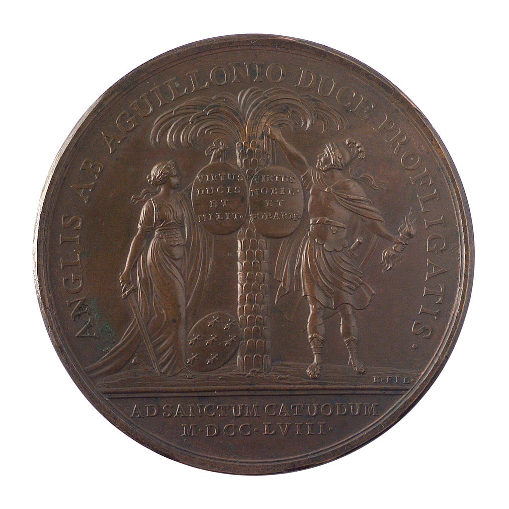 Detail of Medal commemorating the action at Saint Cast, 1758; reverse by J.C. Roettier