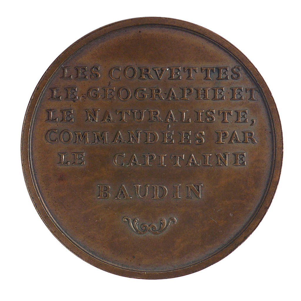 Medal commemorating Captain Nicholas Baudin's expedition to New Holland (Australia), 1801; reverse by P.A. Montagny