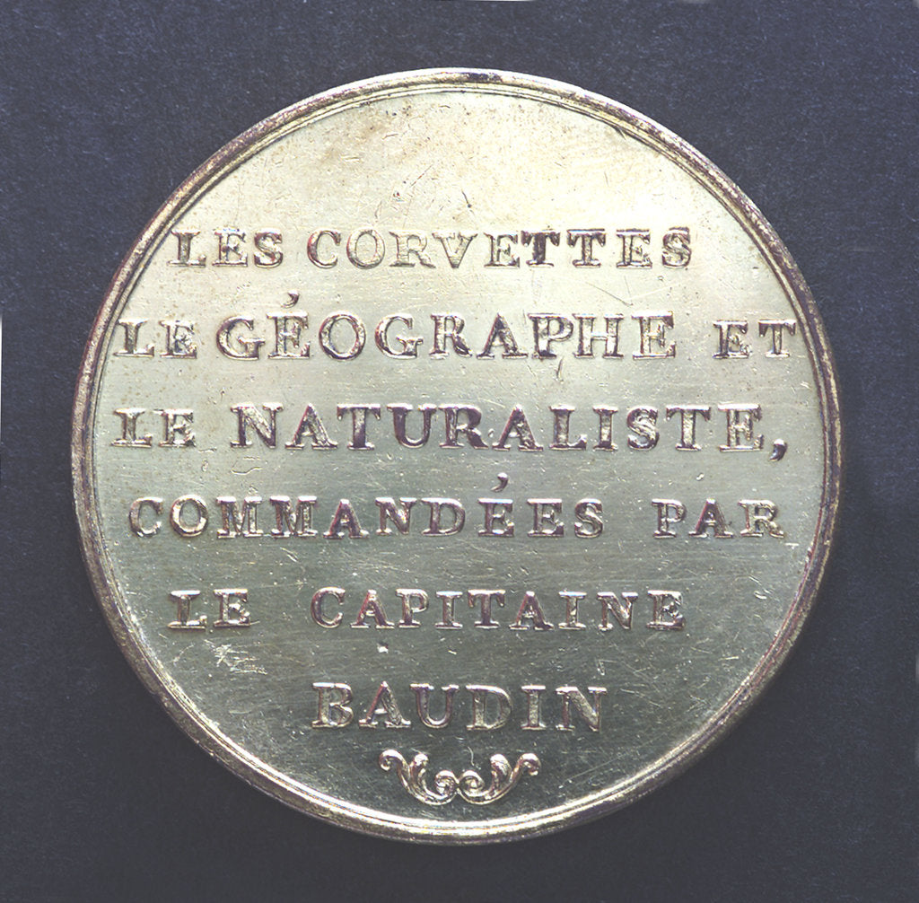 Detail of Medal commemorating Captain Nicholas Baudin's expedition to New Holland (Australia); reverse by P.A. Montagny