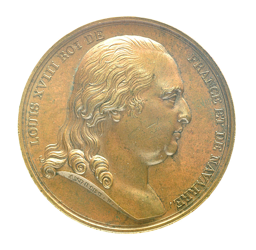 Detail of Medal commemorating Louis XVIII landing at Calais, 1814; obverse by B. Andrieu; N.G. Brenet
