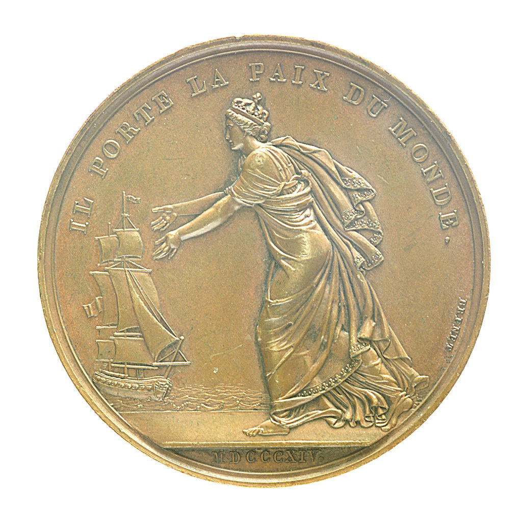 Detail of Medal commemorating Louis XVIII landing at Calais, 1814; reverse by B. Andrieu; N.G. Brenet