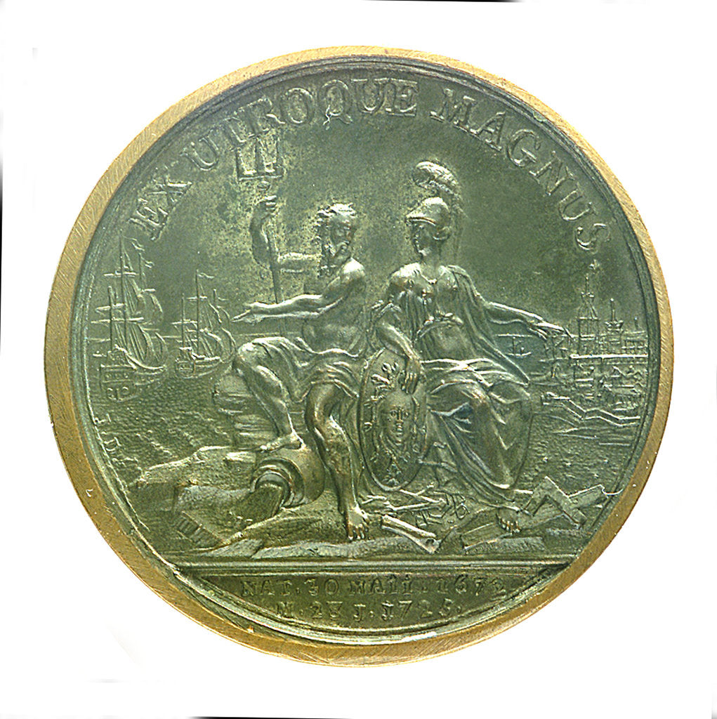 Detail of Medal commemorating the death of Czar Peter I, 1725; obverse by J. Dassier