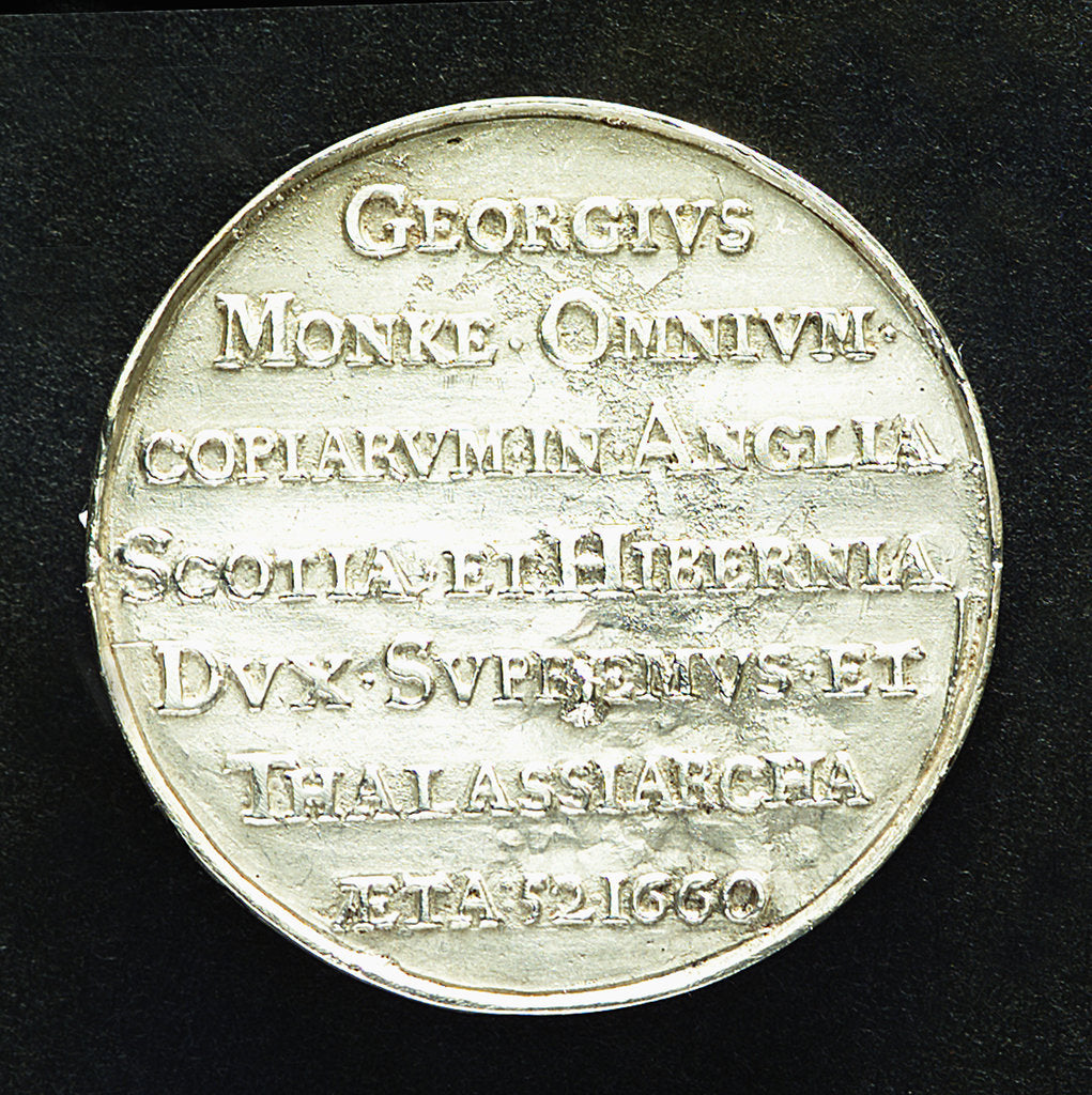 Detail of Medal commemorating Admiral General George Monk (1608-70): 1st Duke of Albemarle; reverse by T. Simon
