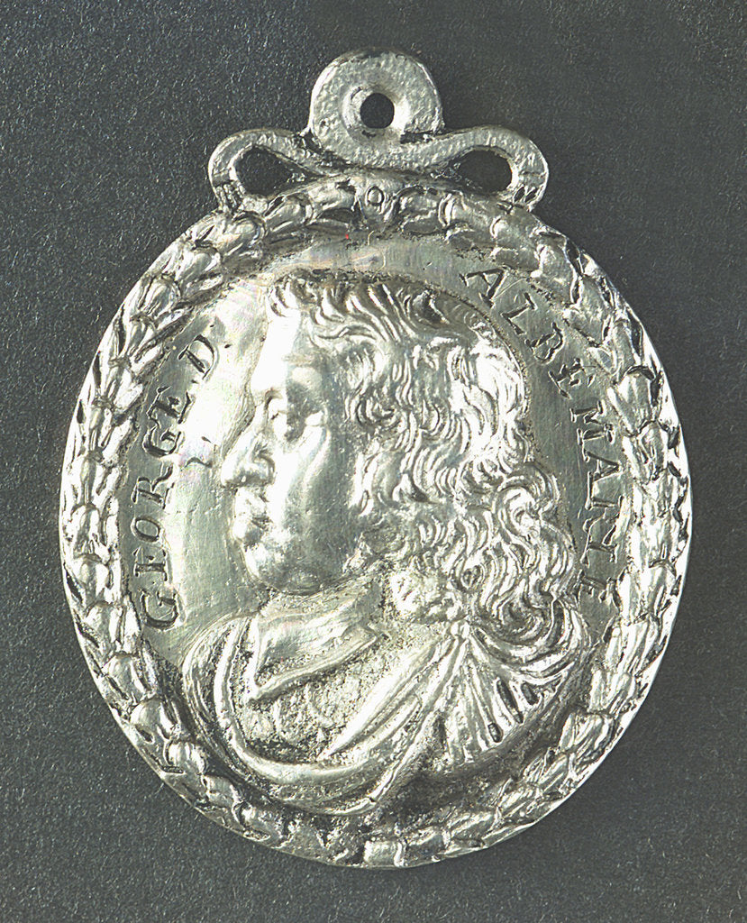 Detail of Medal commemorating Admiral General George Monk (1608-70): 1st Duke of Albemarle; obverse by unknown