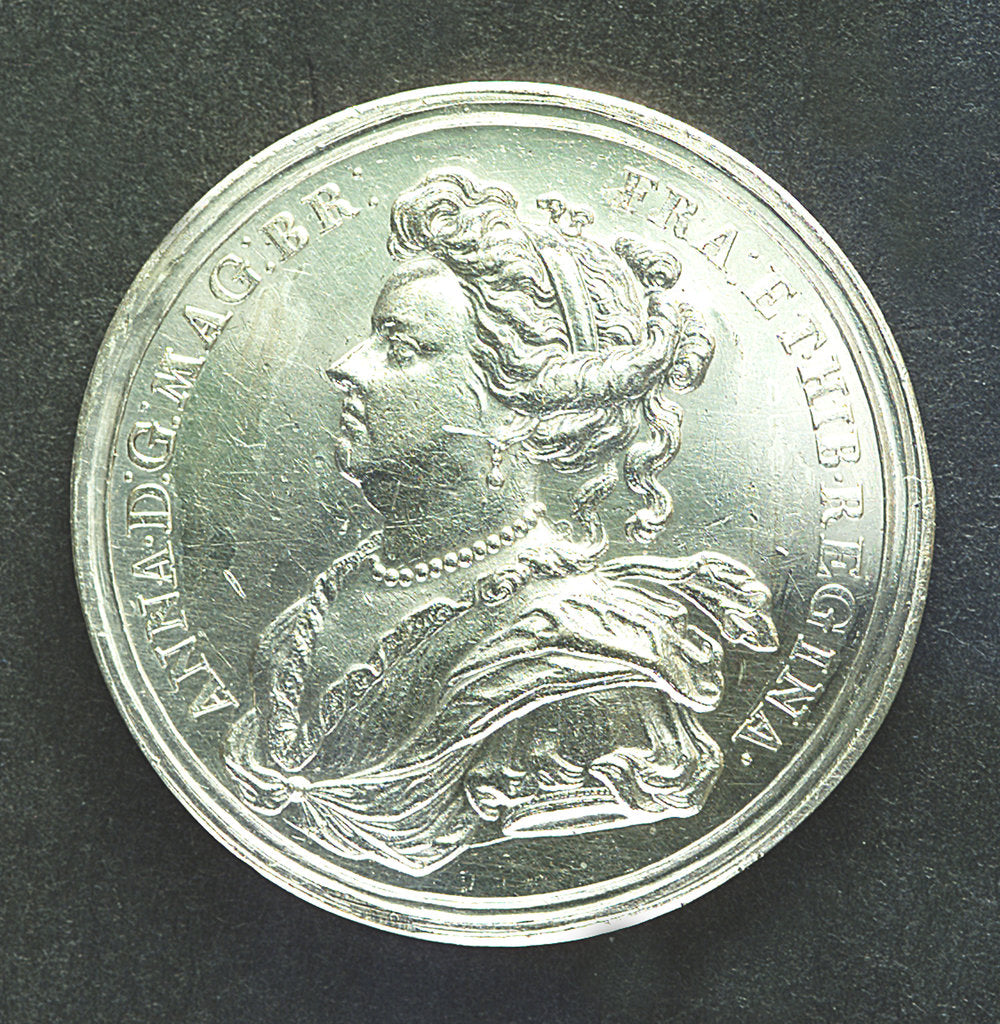 Detail of Medal commemorating Prince George of Denmark, High Admiral (1653-1708); obverse by J. Croker