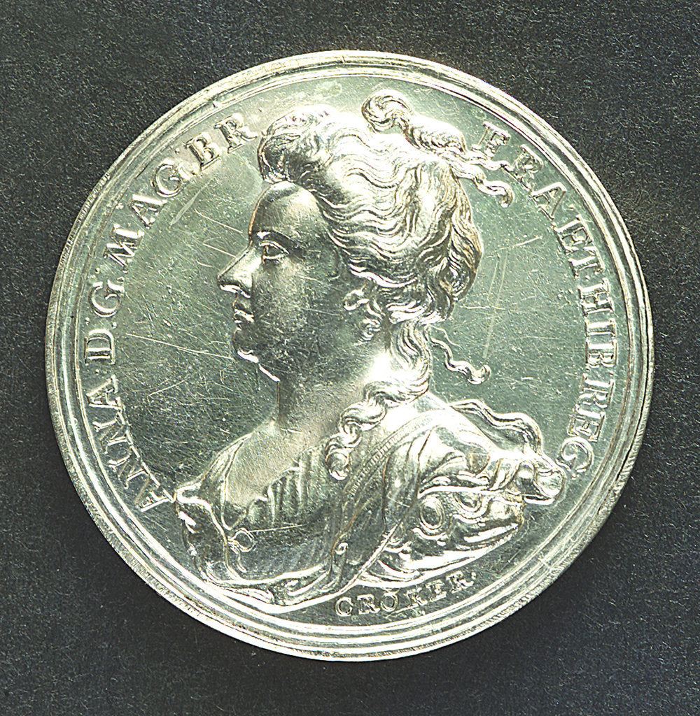 Detail of Medal commemorating Barcelona relieved, 1706; obverse by J. Croker