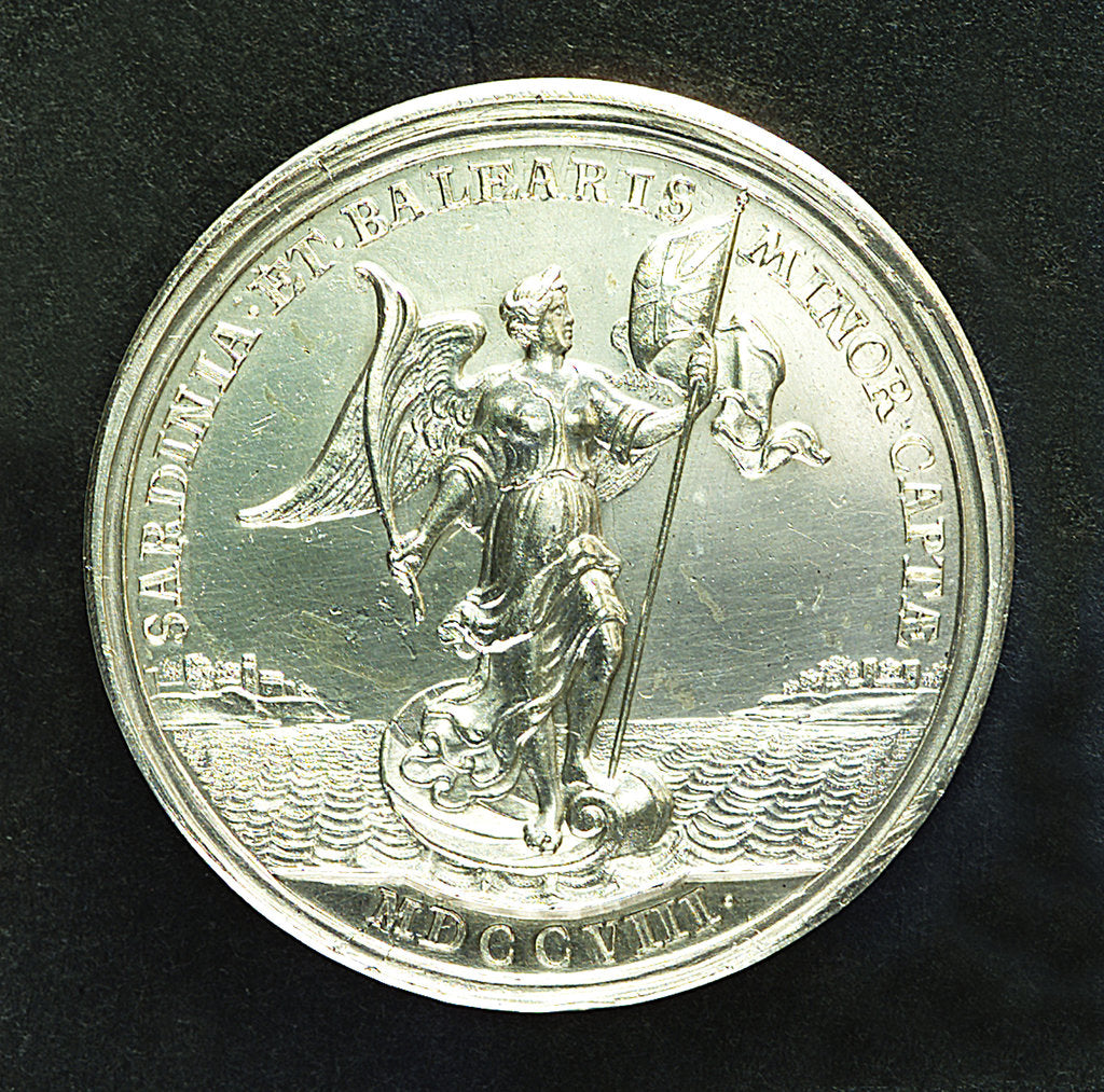 Detail of Medal commemorating the capture of Sardinia and Minorca, 1708; reverse by J. Croker