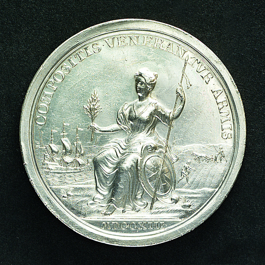 Detail of Medal commemorating the Peace of Utrecht, 1713; reverse by J. Croker
