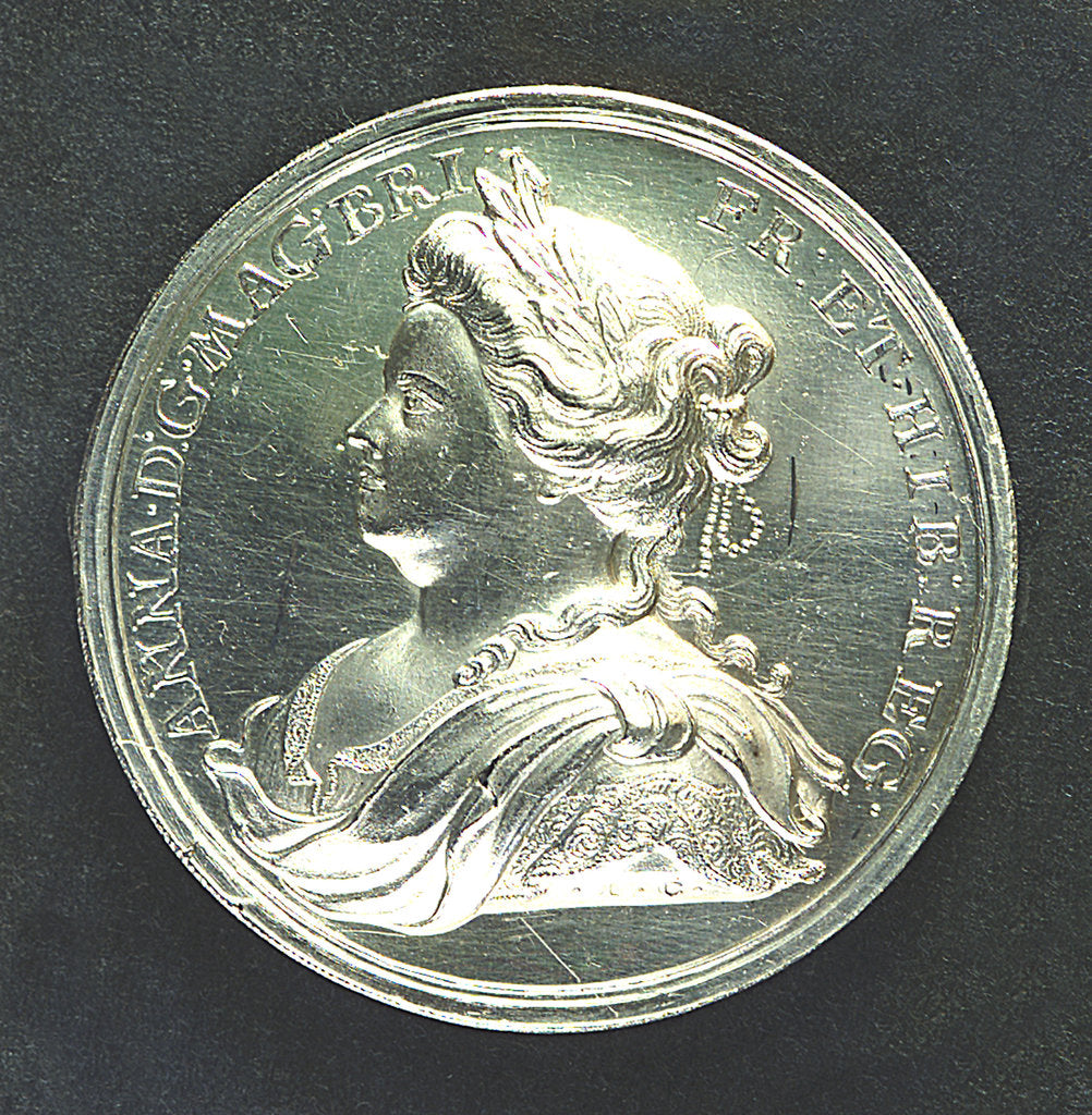 Detail of Medal commemorating the Peace of Utrecht, 1713; obverse by J. Croker