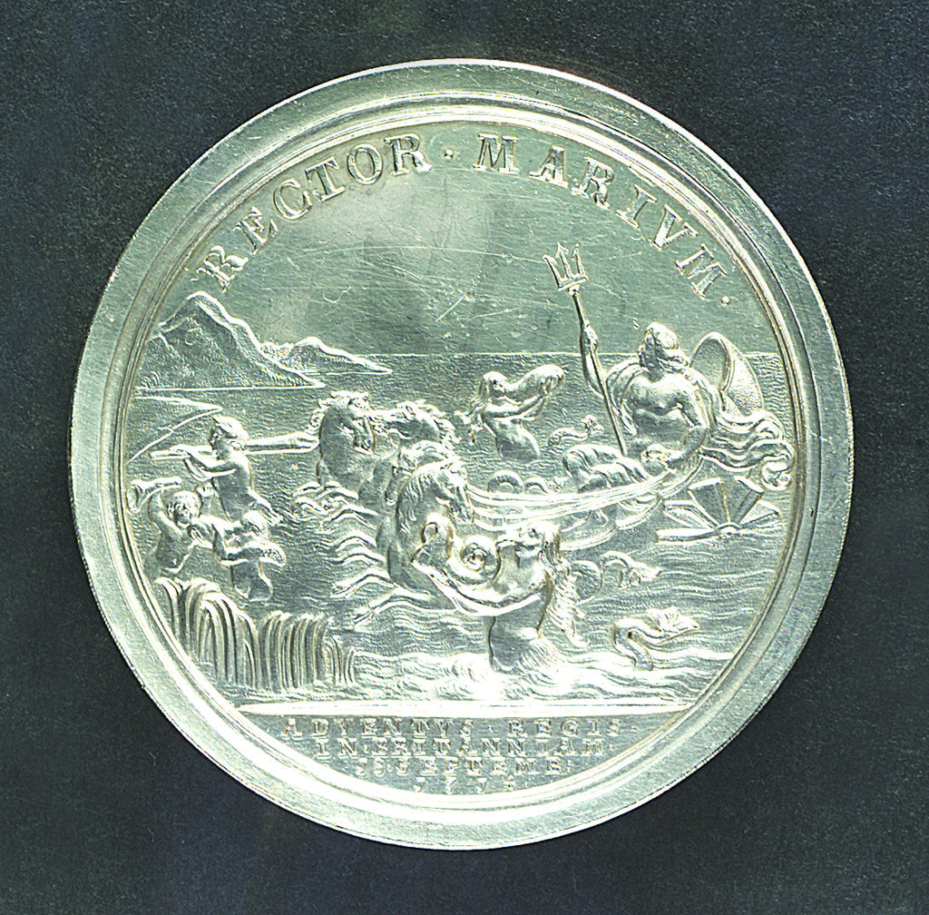 Detail of Medal commemorating the arrival of King George I in England, 1714 and dominion of the seas; reverse by J. Croker