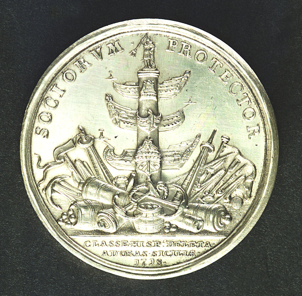 Detail of Medal commemorating the action off Cape Passaro, 1718; reverse by J. Croker