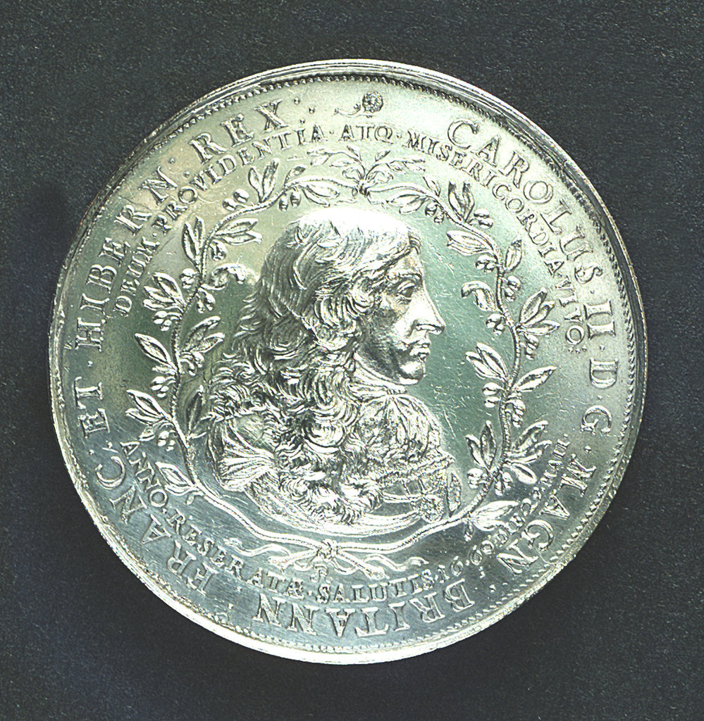 Detail of Medal commemorating the landing of King Charles II at Dover, 1660; obverse by J. Roettier