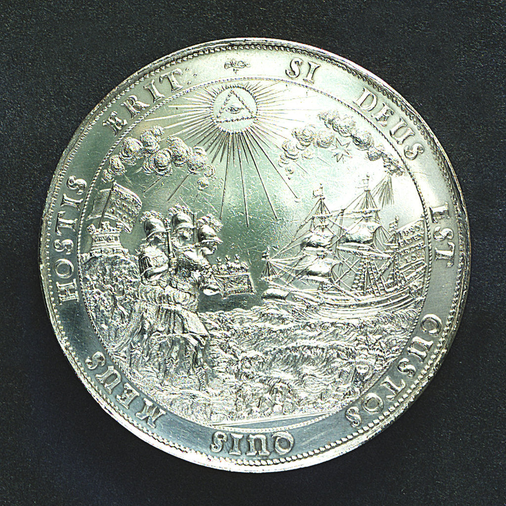 Detail of Medal commemorating the landing of King Charles II at Dover, 1660; reverse by J. Roettier