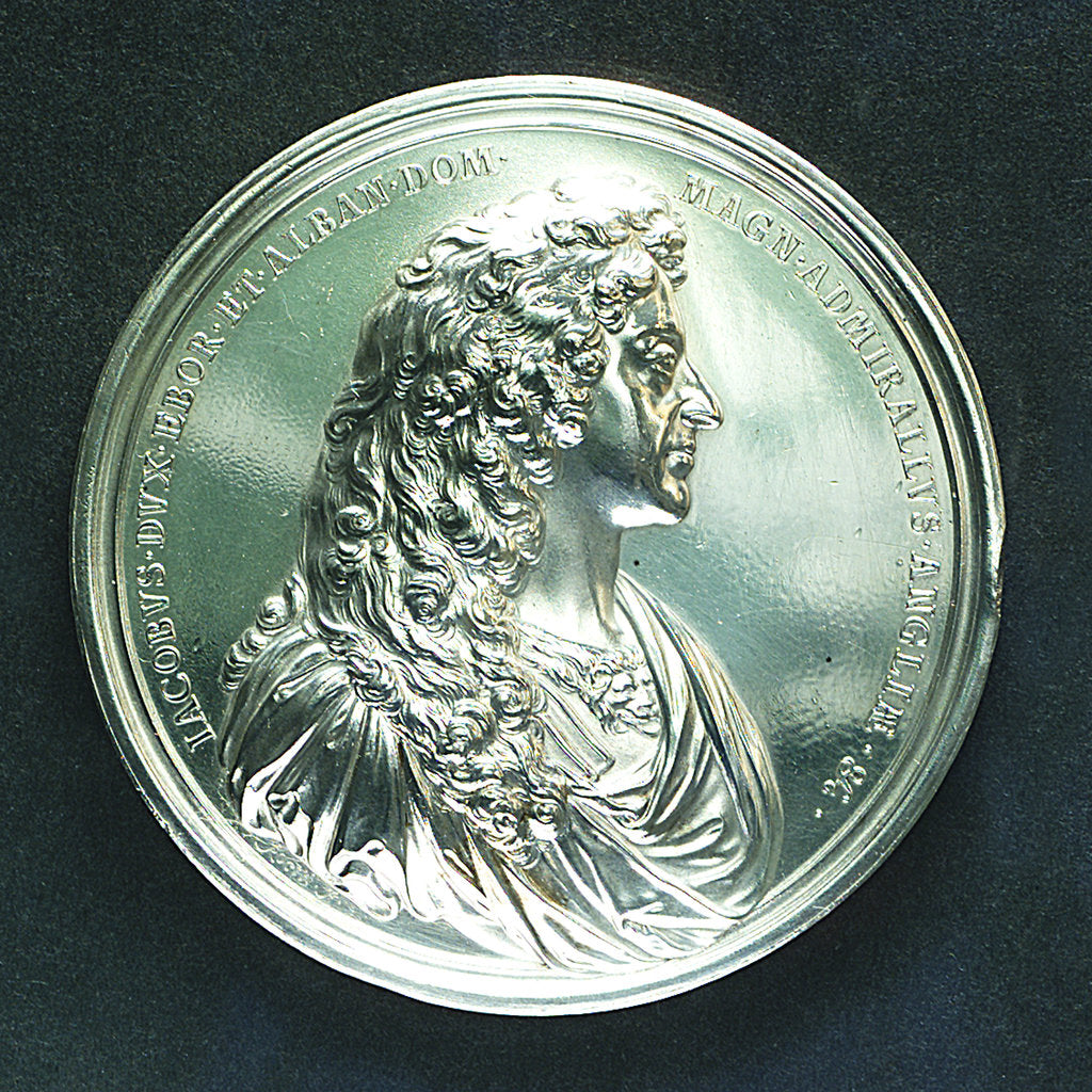 Detail of Medal commemorating the Battle of Lowestoft, 1665; obverse by J. Roettier