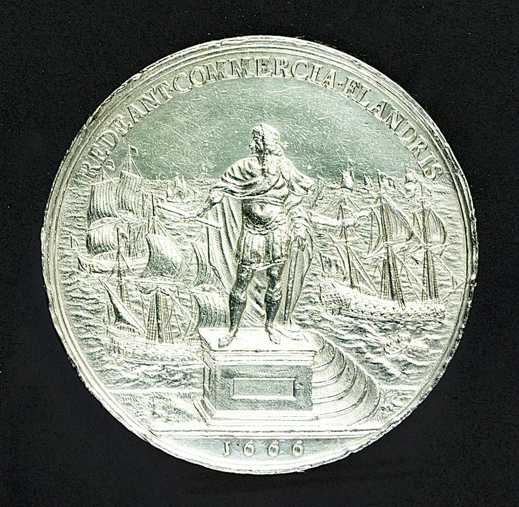 Detail of Medal commemorating the proposed commercial treaty with Spain; reverse by J. Roettier