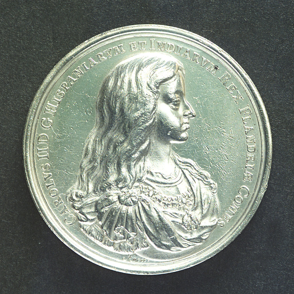 Detail of Medal commemorating the fortifications at Ostend; obverse by J. Roettier