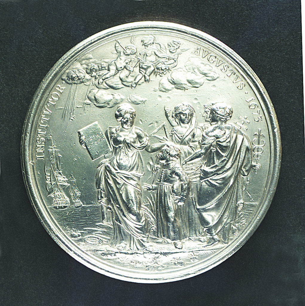 Detail of Medal commemorating Christ's Hospital; reverse by J. Roettier