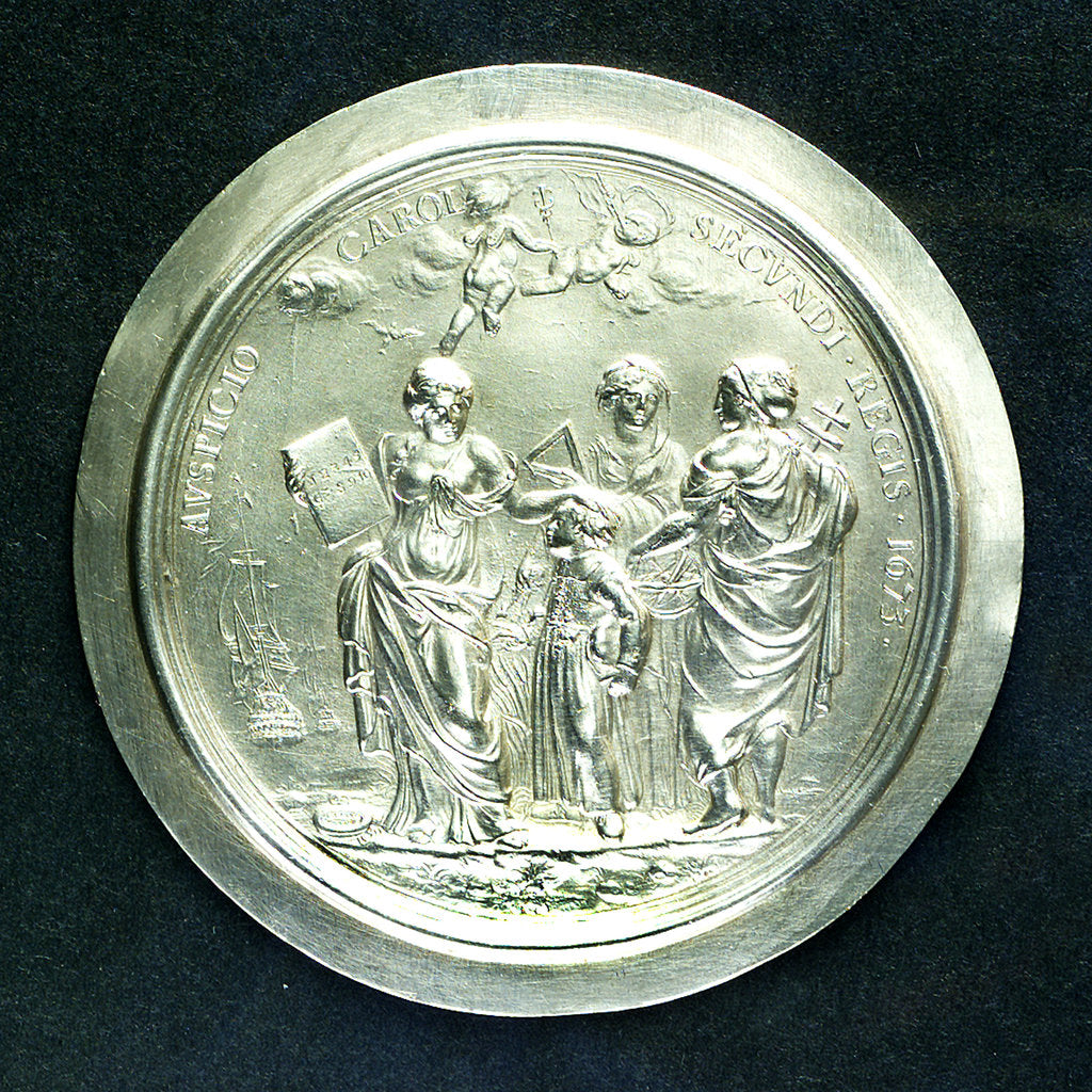Detail of Medal commemorating Christ's Hospital; obverse by J. Roettier
