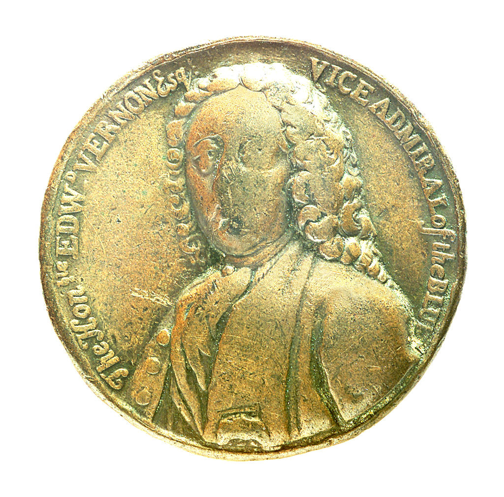 Detail of Medal commemorating Admiral Edward Vernon (1684-1757); obverse by unknown