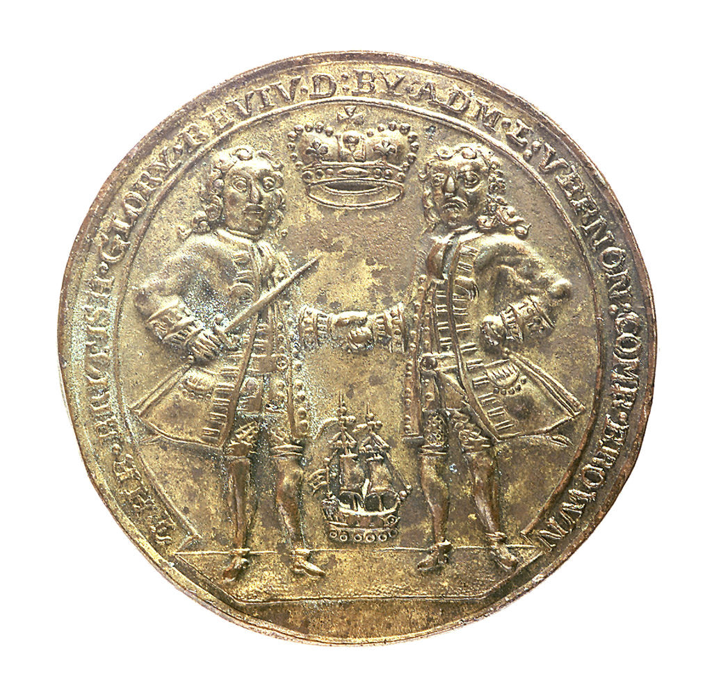 Detail of Medal commemorating Admiral Edward Vernon (1684-1757) and Sir Robert Walpole (1676-1745); obverse by unknown