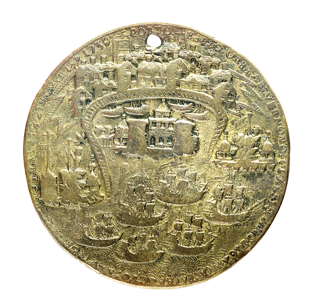 Detail of Medal commemorating the capture of Porto Bello, 1739; obverse by unknown