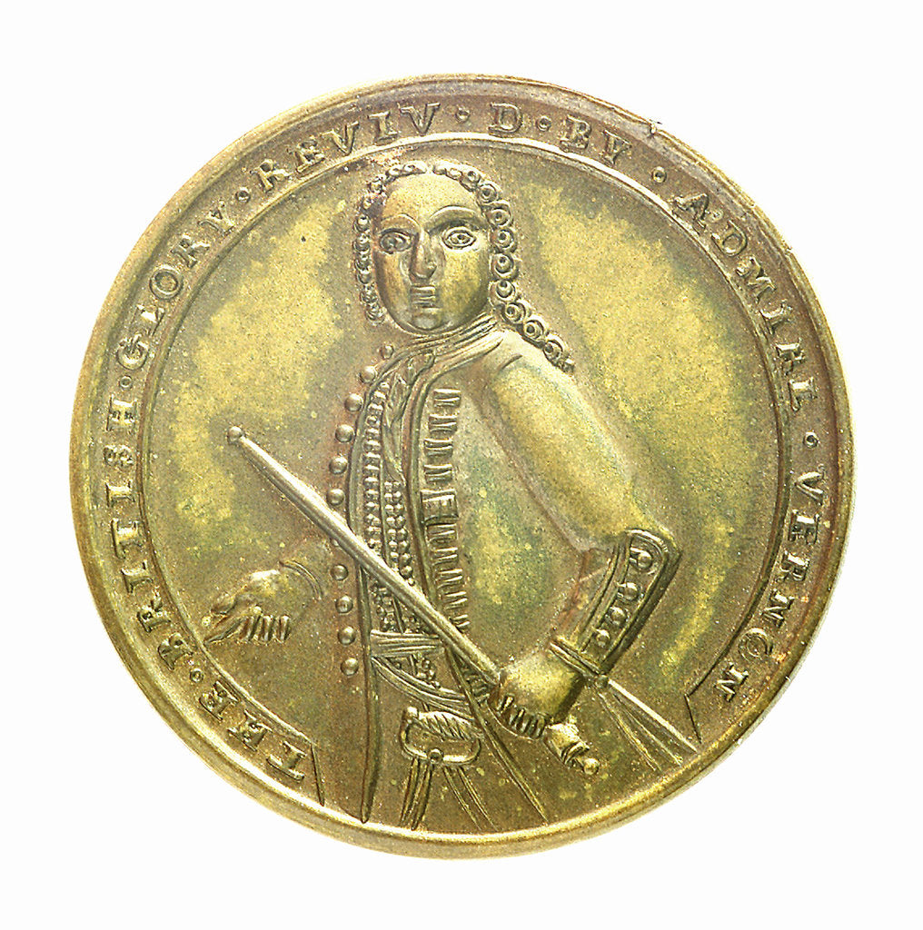 Detail of Medal commemorating Admiral Edward Vernon (1684-1757) and the capture of Porto Bello, 1739; obverse by unknown