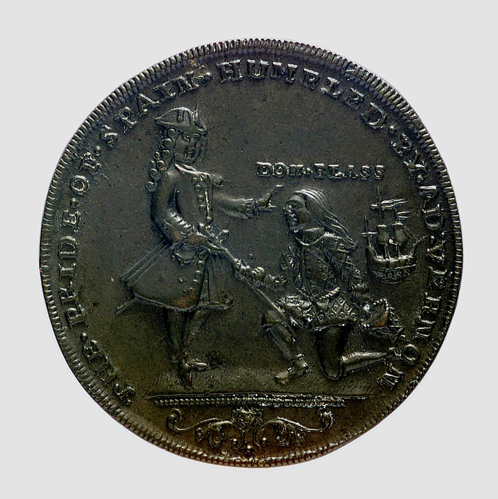 Detail of Medal commemorating Vernon's attack on Cartagena, 1741; obverse by unknown