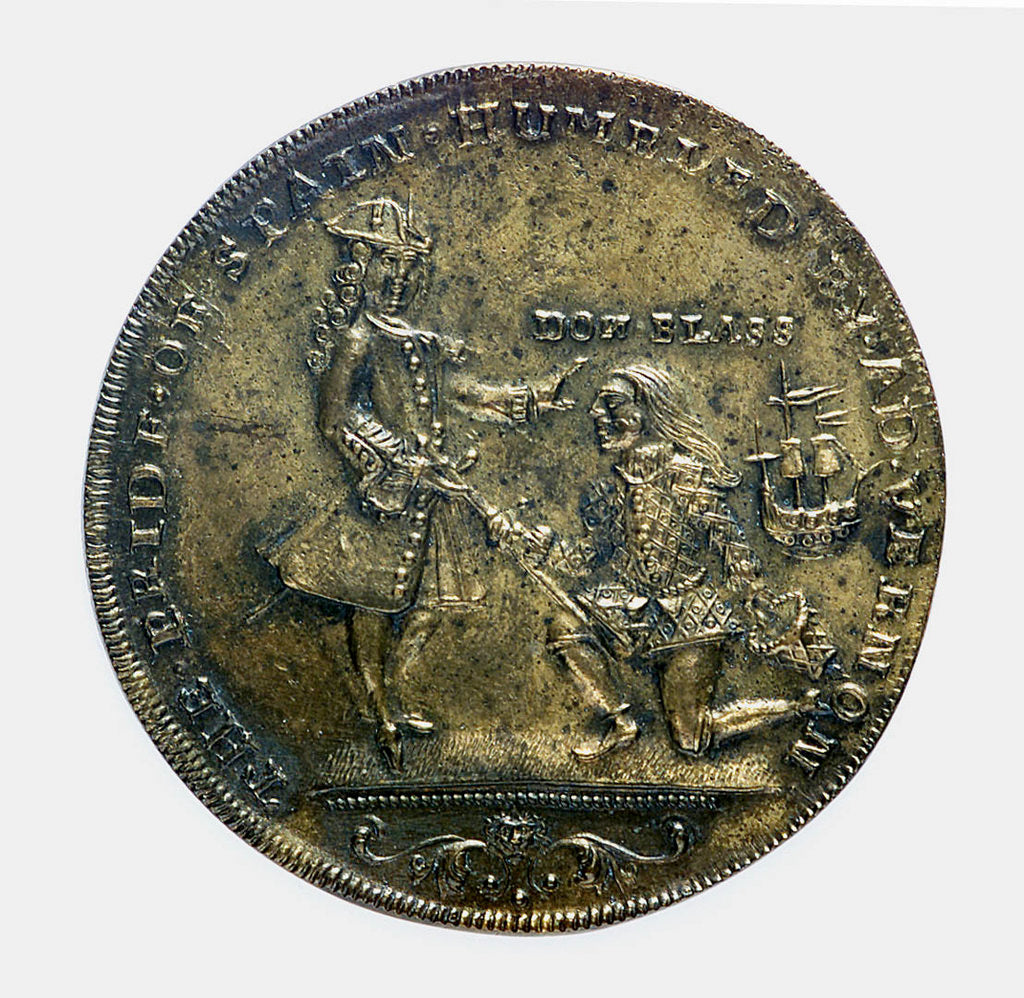 Detail of Commemorative medal depicting Vernon's attack on Cartagena, 1741; obverse by unknown