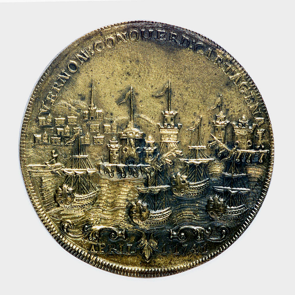 Detail of Commemorative medal depicting Vernon's attack on Cartagena, 1741; reverse by unknown