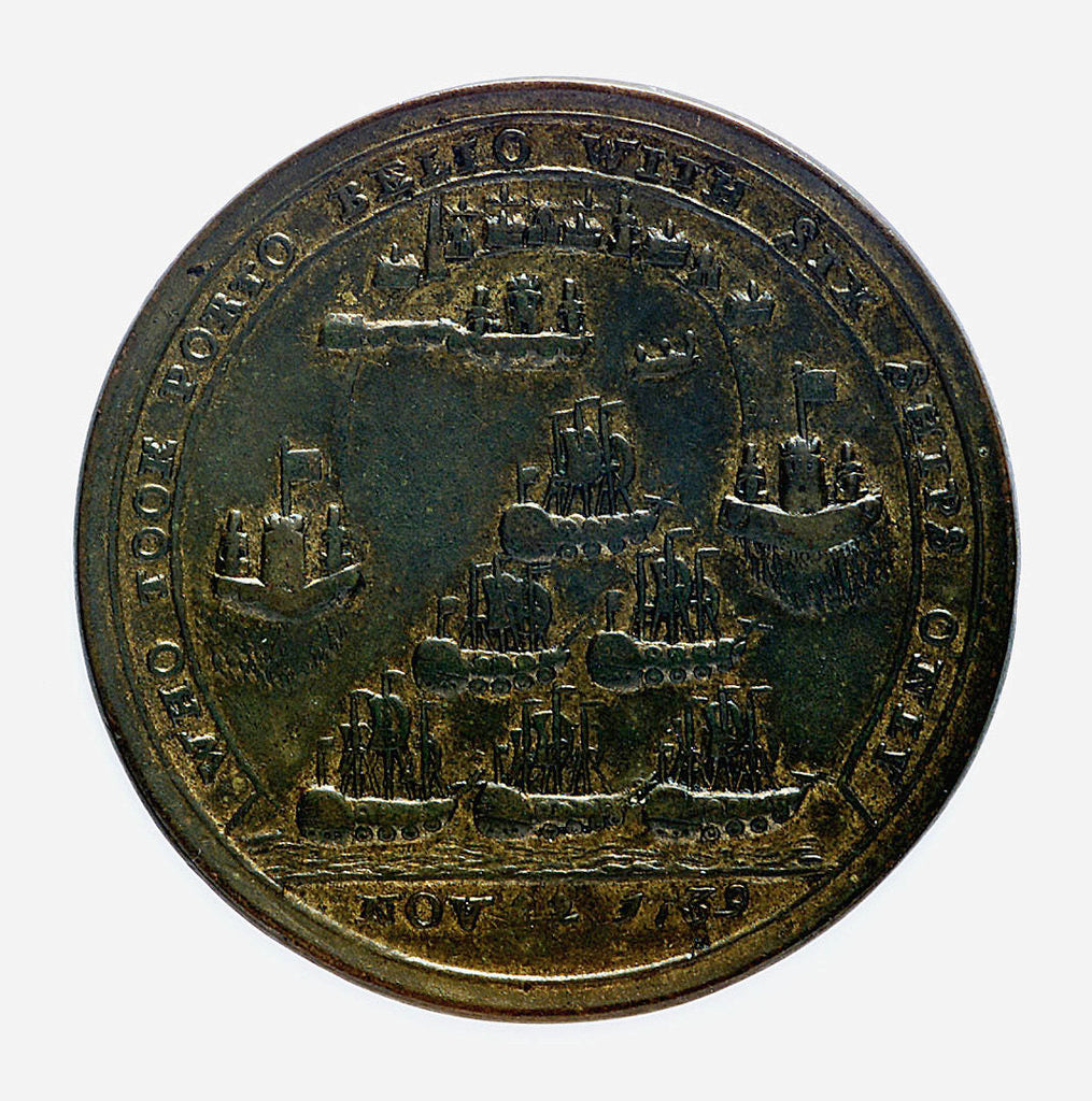 Detail of Medal commemorating Admiral Edward Vernon (1684-1757) and the capture of Porto Bello, 1739; reverse by G. Bradbury