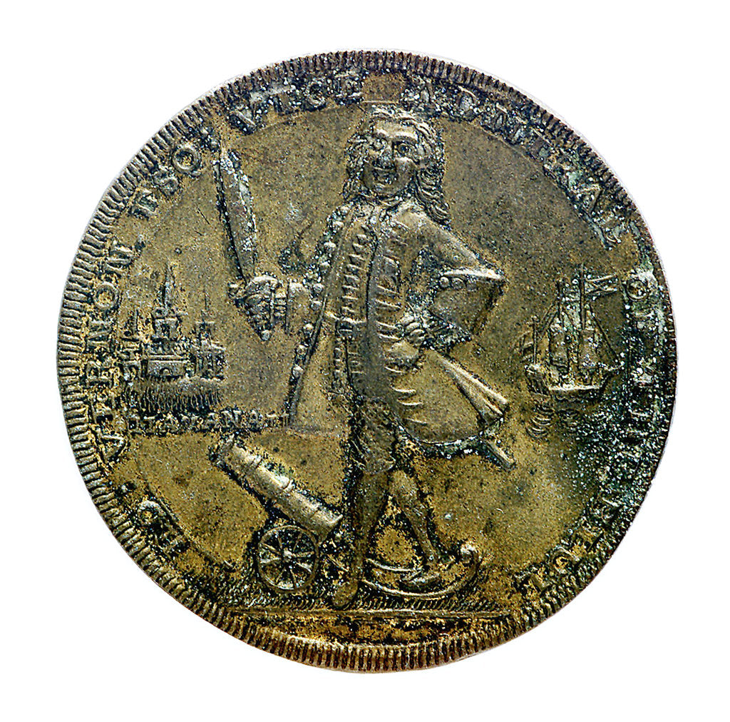 Detail of Medal commemorating Vernon's capture of Porto Bello, 1739 and proposed attack on Havana 1741; obverse by unknown