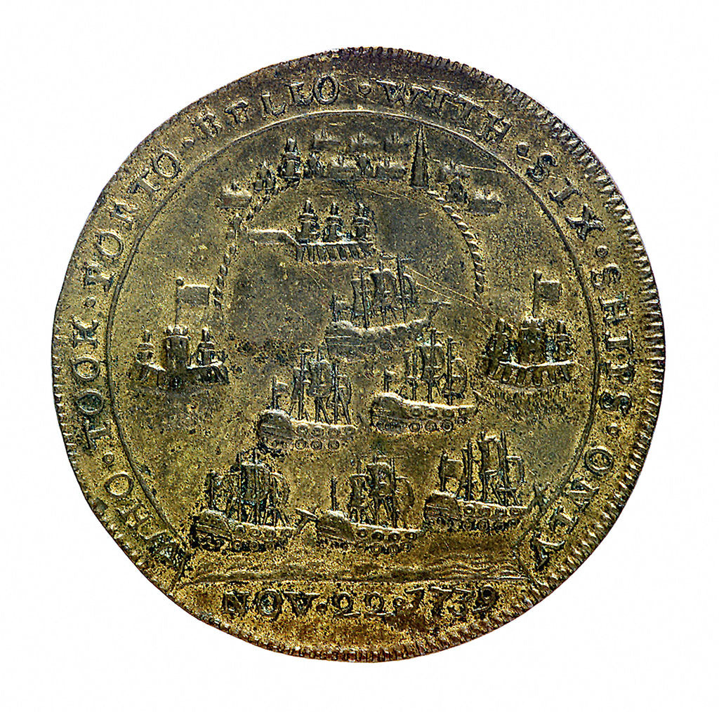 Detail of Medal commemorating Vernon's capture of Porto Bello, 1739 and proposed attack on Havana 1741; reverse by unknown