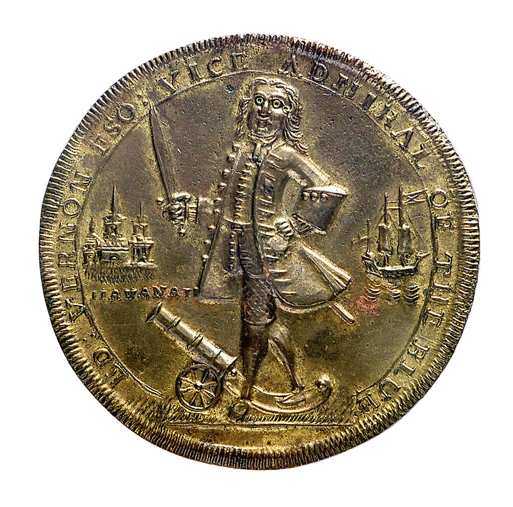Detail of Medal commemorating Vernon's attack on Cartagena and proposed attack on Havana, 1741; obverse by unknown