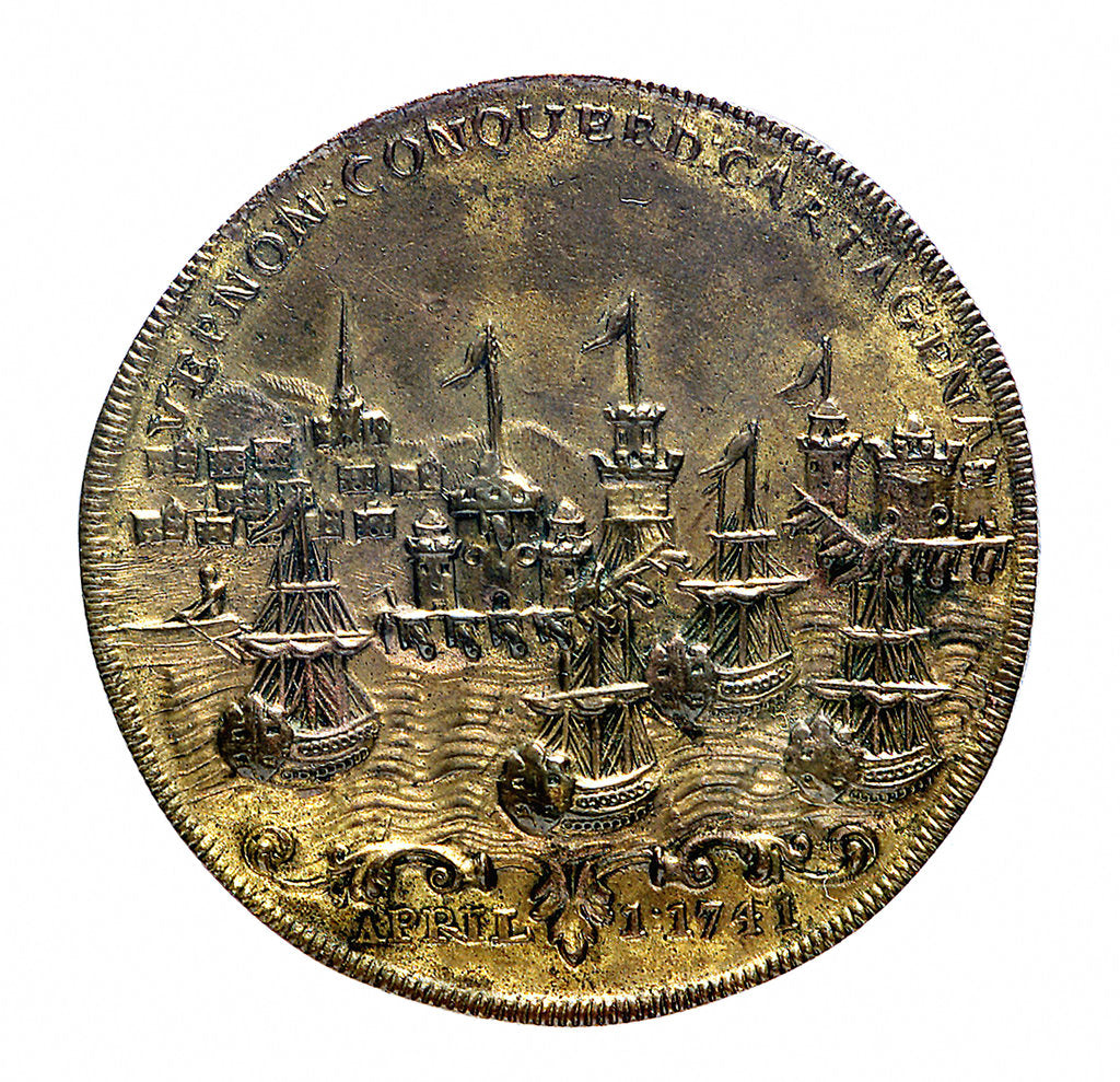 Detail of Medal commemorating Vernon's attack on Cartagena and proposed attack on Havana, 1741; reverse by unknown