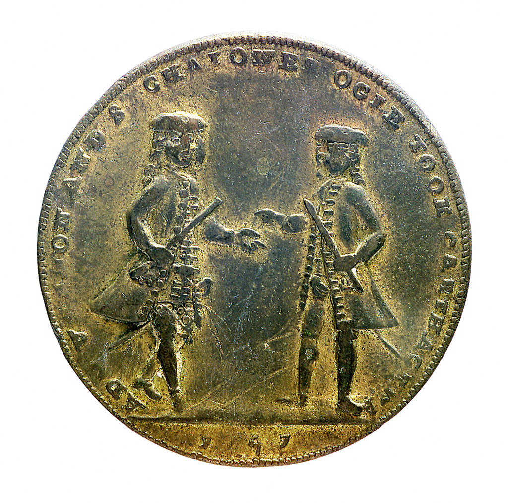 Detail of Medal commemorating Admiral Edward Vernon (1684-1757) and Admiral Sir Chaloner Ogle (1681?-1750), the attack on Cartagena, 1741; obverse by unknown