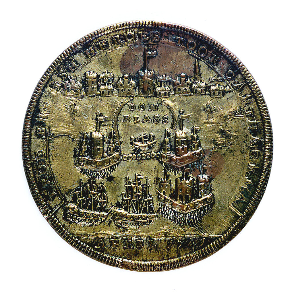 Detail of Medal commemorating Admiral Edward Vernon (1684-1757) and Admiral Sir Chaloner Ogle (1681?-1750), the attack on Cartagena, 1741; reverse by unknown