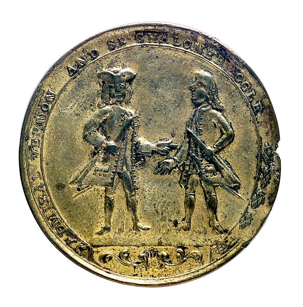 Detail of Medal commemorating Admiral Edward Vernon (1684-1757) and Admiral Edward Vernon (1684-1757), the attack on Cartagena, 1741; obverse by unknown