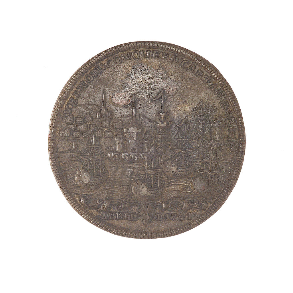 Detail of Medal commemorating Admiral Edward Vernon (1684-1757), Admiral Sir Chaloner Ogle (1681?-1750) and General Thomas Wentworth, the attack on Cartagena, 1741 by unknown