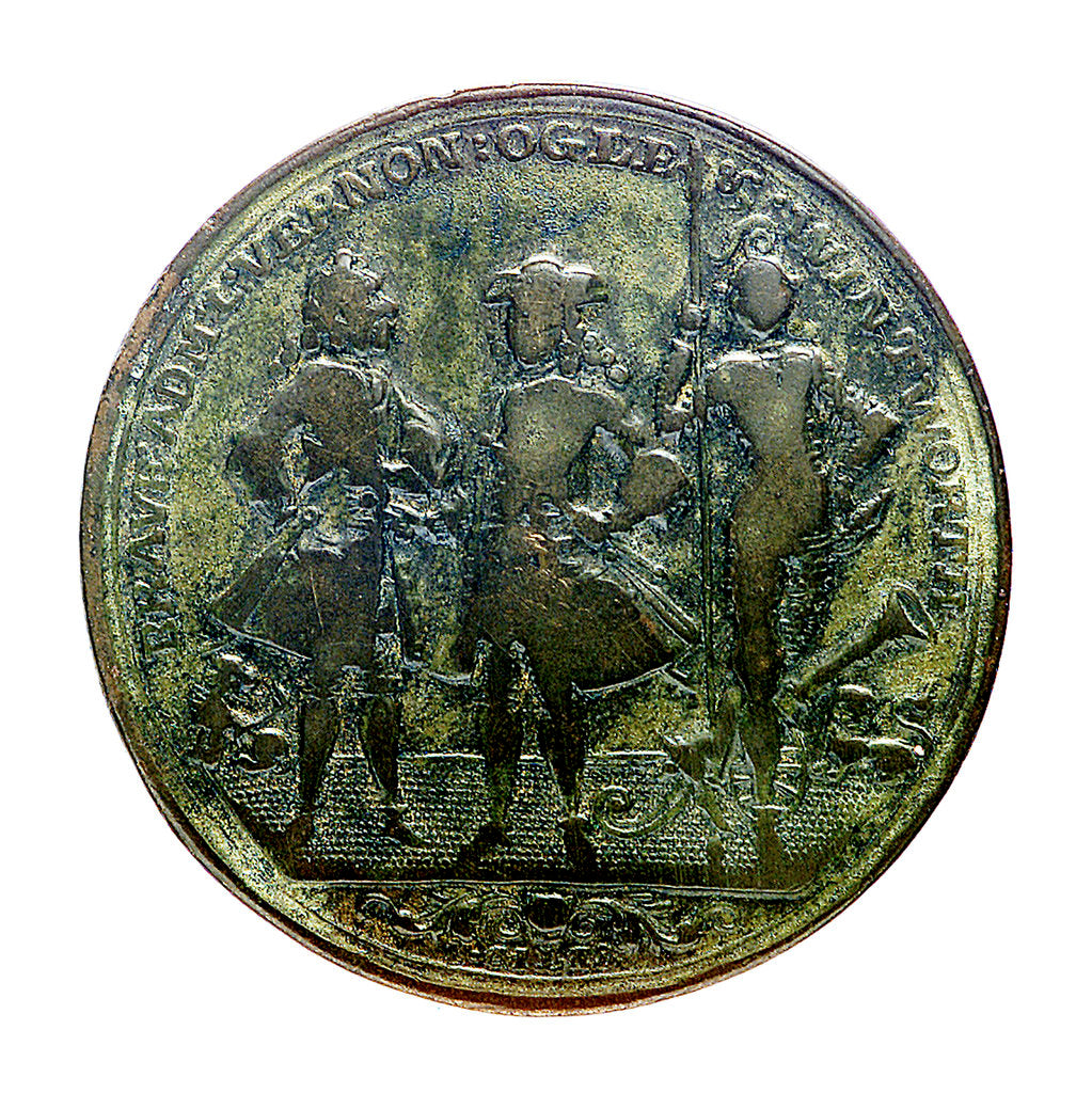 Detail of Medal commemorating Admiral Edward Vernon (1684-1757), Admiral Sir Chaloner Ogle (1681?-1750) and General Thomas Wentworth, the attack on Cartagena, 1741; obverse by I. Giles