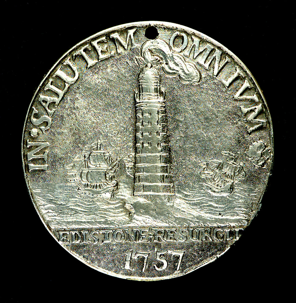 Detail of Badge commemorating the rebuilding of the Eddystone Lighthouse; obverse by unknown