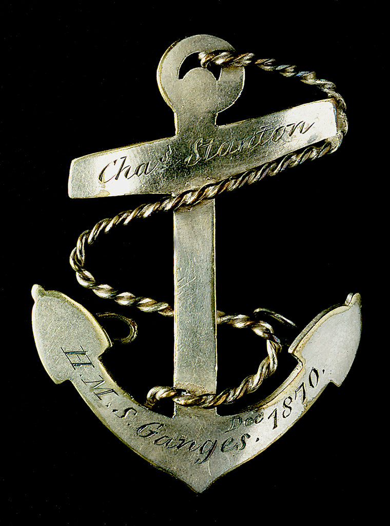 Detail of Badge commemorating HMS 'Ganges', 1870; obverse by unknown