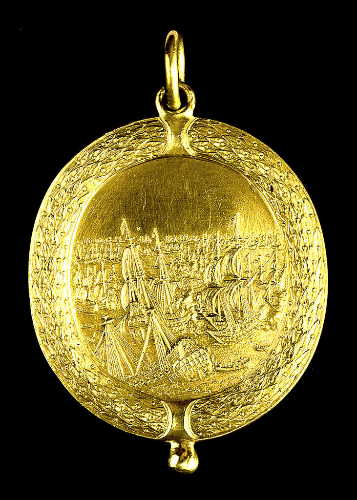 Detail of Naval reward medal; reverse by Thomas Simon