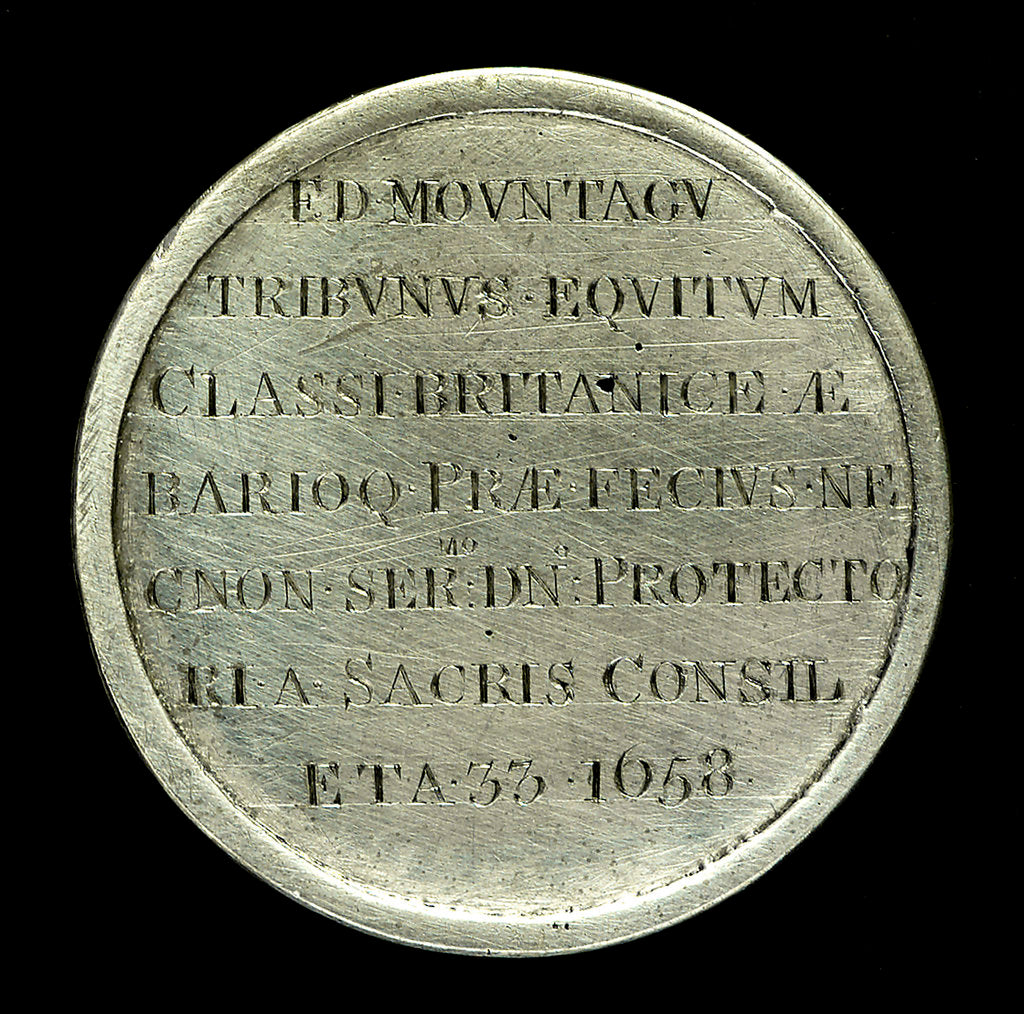 Detail of Medal commemorating Admiral Edward Montagu, 1st Earl of Sandwich (1625-1672); reverse by Stuart