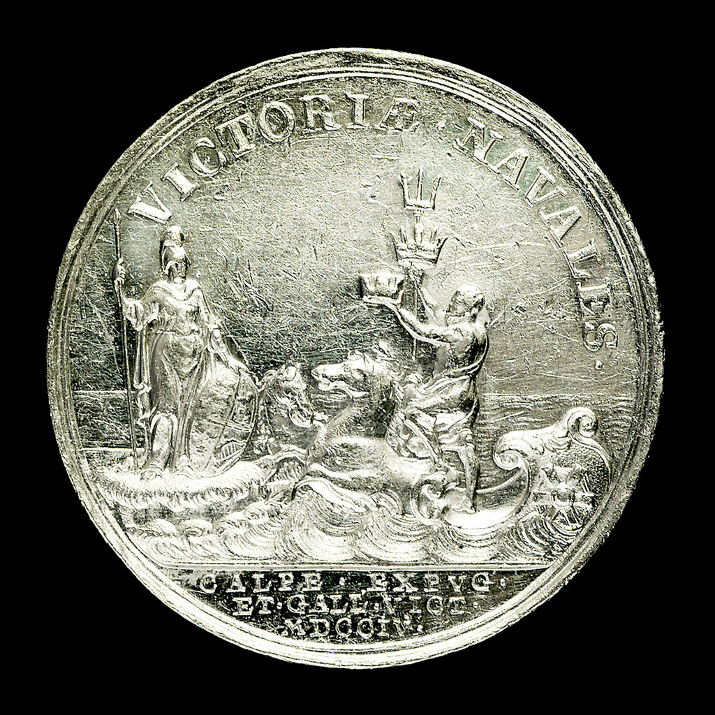 Detail of Medal commemorating the capture of Gibraltar and action off Malaga, 1704; reverse by John Croker